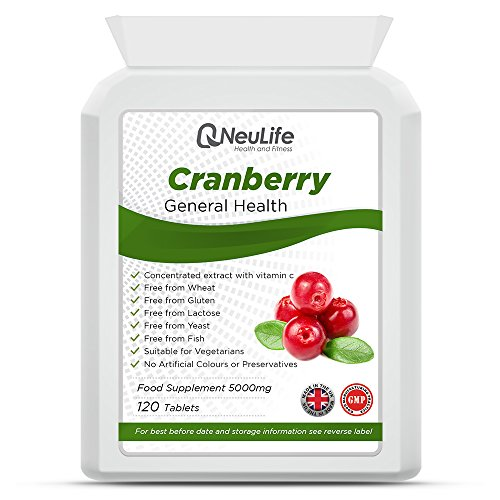Cranberry 5000mg x 120 Tablets, Supports Healthy Bladder & Urinary Function, Suitable for Vegetarians, Neulife Health & Fitness Supplements