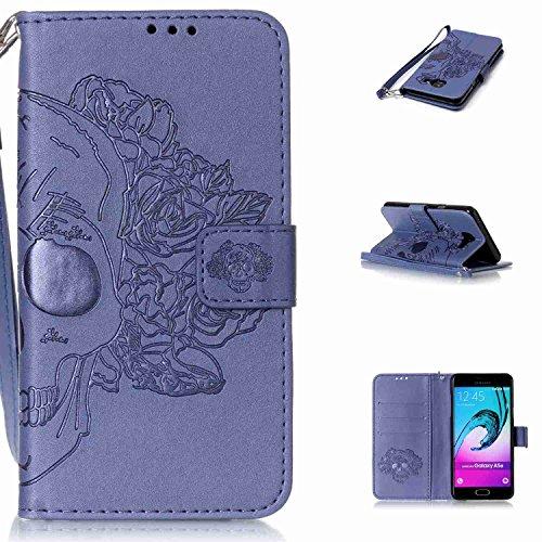 pinlu Schutzhülle Für Samsung Galaxy A3 (2016) A310 4.7zoll Handyhülle Hohe Qualität PU Ledertasche Brieftasche Mit Stand Function Innenschlitzen Doppelt Geprägt Schädel Design Blau