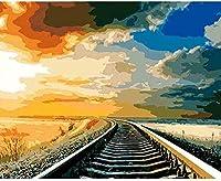 大人のための刻印されたクロスステッチキット初心者-鉄道の風景-DIYデザインクロスステッチの簡単な供給針仕事針仕事家の装飾のための刺繡ギフト-40x50cm
