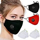 20Pcs Activated Carbon 5 Layers Filters, 2 Pack (Black+Red) Unisex Breathable Valve Adjustable Reusable Washable Cotton Cover for Outdoor Activities