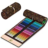 Lovion Colored Canvas Pencils Wrap Roll Up Case Holder for Artist Travel Drawing 40 Slots Portable Coloring...