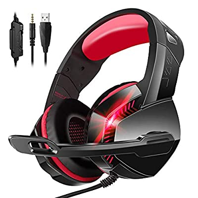 PS4 Headset, PHOINIKAS 7.1 Sound Wired Gaming Headset for Xbox One, Laptop PC, Wired Headphone for 3.5mm Devices with Noise Cancelling Mic, LED Light, Bass Surround, Gift for kids - Red by PHOINIKAS