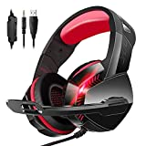 Stereo Gaming Headset for PS4 Xbox One PC Controller Nintendo Switch Games 3.5mm Equipment, PHOINIKAS H3 Noise Cancelling Headphones, 7.1 Surround Sound, Over Ear Headphones with Mic, LED Light (Red)
