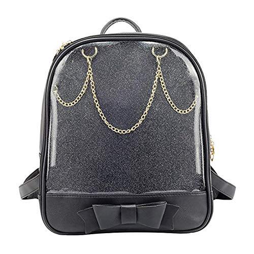 KEEPOP Ita Bag Rucksack Mädchen Süß Candy Leder Tasche Geldbörse Schultasche Sommer Strandtasche Geldbörse mit Bowknot Transparente Fenster für DIY Dekore...