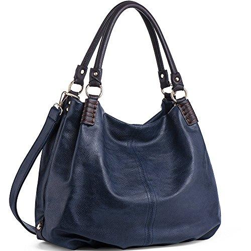WISHESGEM Handtaschen Damen Schultertaschen Umhängetaschen Große Crossbody Hobo Taschen Damen PU Leder Henkeltaschen Shopper (L31CM * W15CM * H28CM) Blau