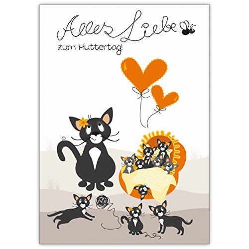 1 liebevolle Muttertagskarte: mit niedlicher Katzen Mami und ihren Babys