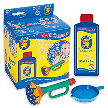 PUSTEFIX Multi Bubble Trumpet Blowing Toy for Kids Set includes Trumpet Blower 8.45 oz Bubbles Bottle and Liquid Tray