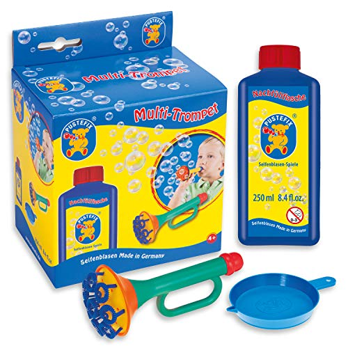 Pustefix Multi-Bubble-Trompete I 250 ml Seifenblasenwasser I Bunte Bubbles Made in Germany I Seifenblasen Spielzeug für Kindergeburtstag, Hochzeit & als Gastgeschenk I Spaß für Kinder & Erwachsene