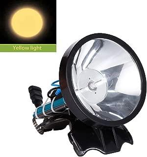 Superbright 12V Headlamp 100W Xenon Headlight External DC Power Fast Starting Hunting Fishing Lamp Searchlight (Yellow light)