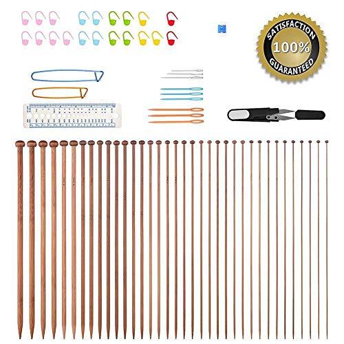 Ferri da maglia, Bcmrun 36pezzi in bambù, 18 ferri. Misure da 2,0 mm a 10,0 mm, 34 pezzi con accessori, 35CM(13.78 inch)