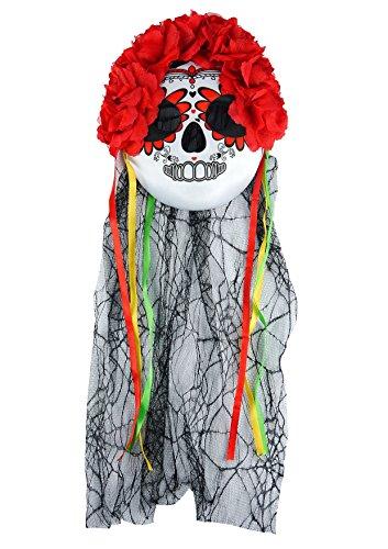 HENBRANDT Blue Banana Velo y Máscara Florida Día de los Muertos (Multicolor)