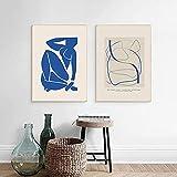 LangGe Kunstposter 2 Stück 30x50cm Rahmenlose Matisse Poster Minimalistische Wandkunst Blaue Linie Charakter Abstrakter Druck Moderne Wohnzimmerdekoration Malerei
