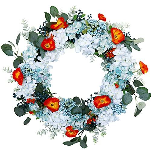 QIEP Corona de amapola artificial con hojas verdes, primavera, granja patio, porche, decoración perfecta de flores para puerta delantera, decoración de pared de 60 cm