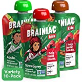 Brainiac Kids Applesauce Pouches, Variety Pack with Apple, Apple-Cinnamon and Apple-Strawberry...