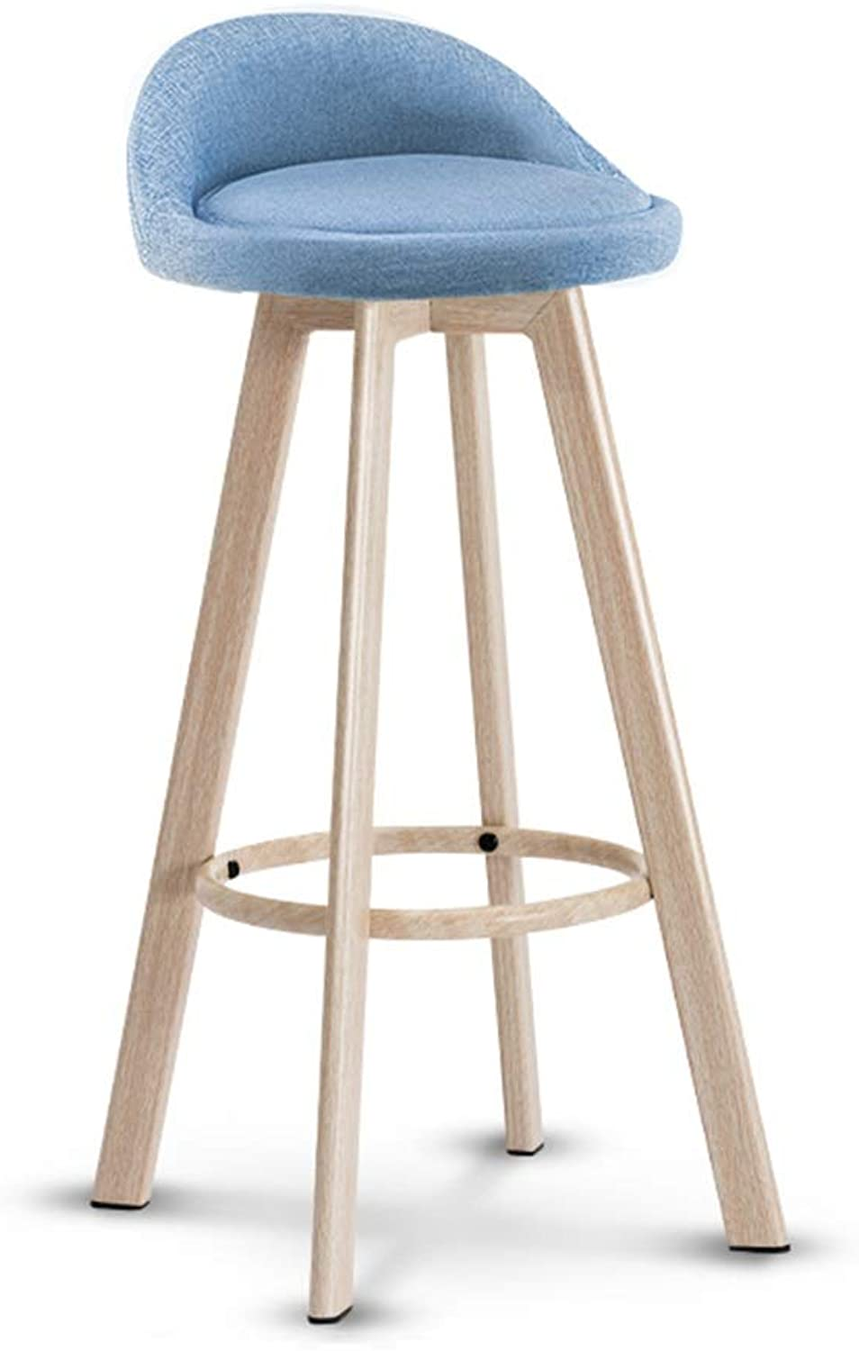 Seat 72cm 28.3inch Fabric Solid Wood High Stool, Bar Stool with Footrest, Multi-color Optional (color   C)