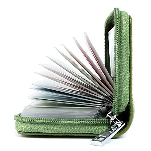 Tarjeteros Mujer Piel Tarjeteros para Tarjetas de Credito Cuero (Verde)