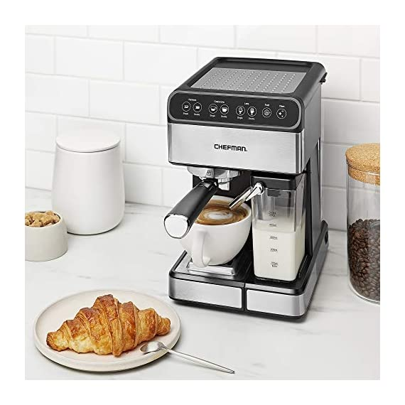 Chefman 6-in-1 Espresso Maker, Powerful 15-Bar Pump, Brew Single or Double Shot, Built-In Milk Froth for Cappuccino… 3 MAKE YOUR KITCHEN A CAFE: Bring the energizing taste of coffeehouse brews into your home with the gourmet Chefman Espresso Maker! With a powerful 15-bar pump and a built-in milk frothing mechanism, you'll be able to brew like a barista every morning. UPGRADE YOUR COFFEE: This 6-in-1 coffee machine creates all of your favorite high-quality coffee beverages right in your kitchen. Enjoy single or double shots of espresso, cappuccinos, lattes, and more with the integrated frothing system. Ditch your old coffee pot, get the upgrade you've been craving. BREW WITH EASE: While your morning cup of joe might be more complex with the Espresso Machine, your brewing process will be easier than ever. With simple one-touch operation, you can brew and froth your perfect cup. Plus, with the XL 1.8 Liter water container, you can forget about daily refills.