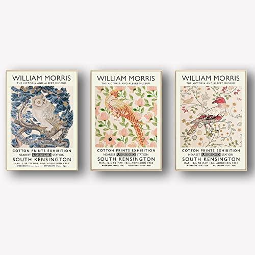 Búho pájaro hoja flor póster impresiones William Morris obra de arte pintura lienzo abstracto arte de pared galería cuadros de arte pared para decoración de sala de estar 40×60cm×3 sin marco