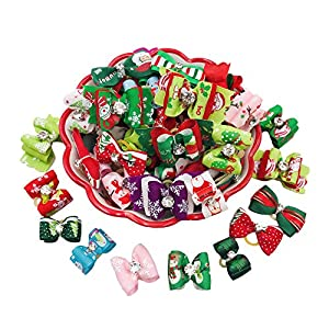PET SHOW Pack of 20 Christmas Small Dog Hair Bows W/Rubber Bands Xmas Medium Dogs Puppies Cat Puppy Grooming Accessories Bowknot Color Assorted