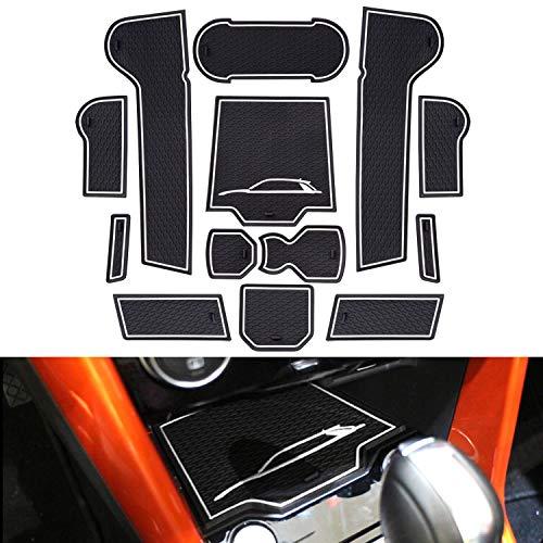 SHAOHAO für VW t-ROC 2018+ Gummimatten, Mittelkonsole Antirutschmatten, Getränkehaltermatt, Türschlitzmatte Aufbewahrungsbox Rutschfestermatte (Weiß)