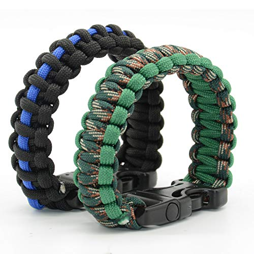 WildWave Paracord Survival Bracelets - Set of 2 - Easy to Open Clasp with Emergency Whistle Buckles