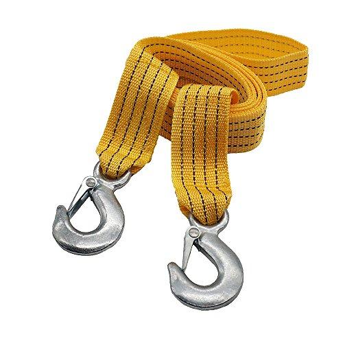 Locen - Cuerda de remolque con 2ganchos, carga de 3-5toneladas (capacidadpara remolcar un coche, camión, barco, o SUV o quitar arbustos o ramas)