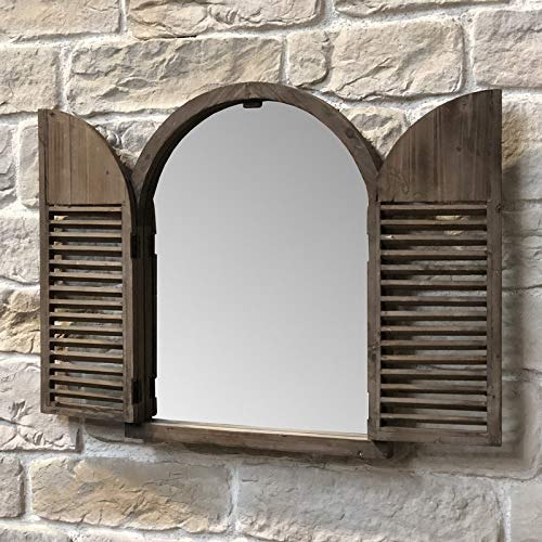 Industriële spiegel raam met luiken, hout, 75 cm x 59 cm