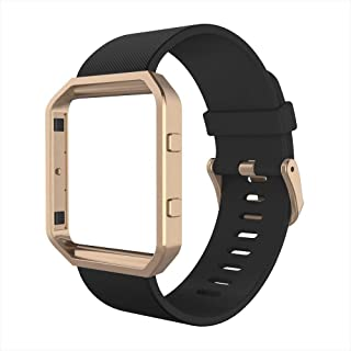 Simpeak for Fitbit Blaze Bands with Frame, Silicone Replacement Band Strap with Black Frame Case for Fit bit Blaze Smart Fitness Watch, Small, Black
