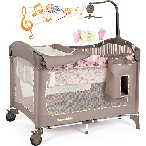 Baby Crib Foldable Travel Cot Bed Playpen with Bassinet, Changing Table, Wheels and Brake, Portable Design with Carry Bag, Nursery Center for Boys and Girls with Toys & Music (Brown&Pink)