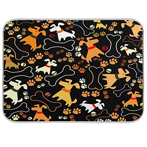 Dogs Vector And Prints Abtropfmatte für die Küche, 45,7 x 61 cm, saugfähig, maschinenwaschbar, schnell trocknend, Abtropfmatte für Küchentheke