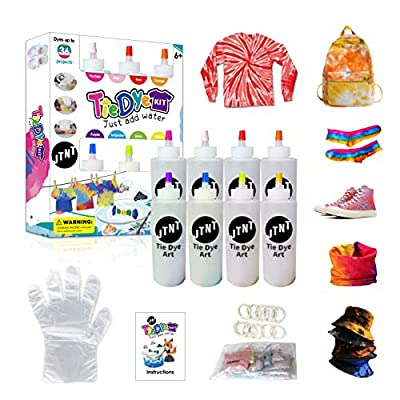 Amazon - Save 45%: Tie Dye Kit, One-Step DIY Fabric Dyes Non-Toxic Art Craft with Rubber Bands,…