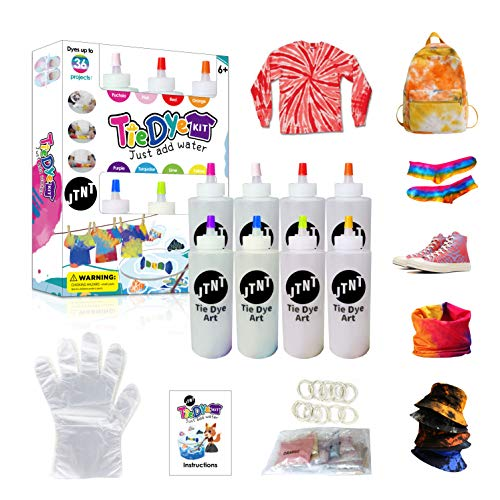 Tie Dye Kit, One-Step DIY Fabric Dyes Non-Toxic Art Craft with Rubber Bands, Gloves, Powder Refills, 8 Bright Colors All in One Creative Tie-Dye Kit for Party Group Handmade Project Gift