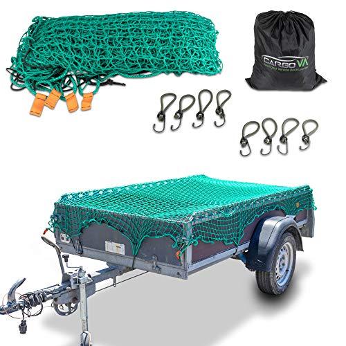 CargoVA® Intelligentes Anhängernetz 2,5x3,5M - Hängernetz mit Gummiseil, Eckenmarkierung, Beutel und Haken - zur perfekten Ladungssicherung