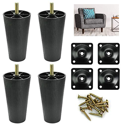 AFASOES 4pcs Sofa Legs Plastic Sofa Couch Feet Universal Chair Bed Legs Black Tapered Furniture Feet Replacement Legs with Leg Mounting Plates/Screws for Furniture Table Cabinet (LegHeight: 12cm)