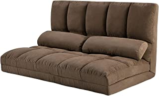 Chaise Lounge Sofa Chair Floor Couch with Lumbar Cushion (Brown)