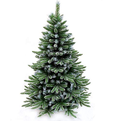 ZFM Folding Spruce Artificial Christmas Tree Encrypted Realistic Snow Streamed Christmas Tree Metal Base Premium Christmas Decoration Flame Retardant for Indoor Decorative-4Ft(120CM) Green