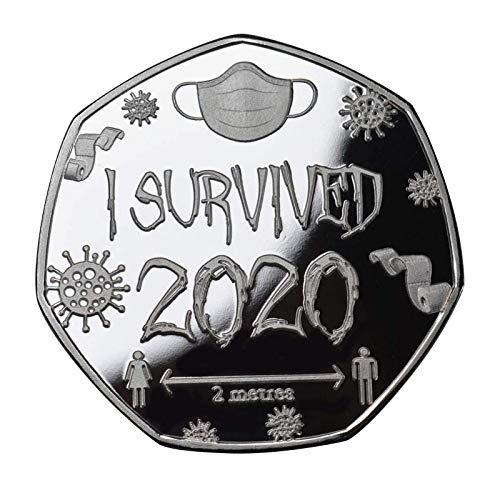 FTIK 'I Survived 2020' ,GedenkmüNze Ich Habe 2020 üBerlebt, GedenkmüNzen FüR üBerlebende Der GlüCksmüNze - 2020 Ich Habe üBerlebt, Geschenk FüR Freunde Familiensammler A1(1pcs