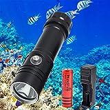 Linterna de Buceo, 8000 Lúmenes Linterna de Buceo LED, Submarina IPX8 Impermeable 4 Modos de Iluminación Luces Subacuáticas para Pesca Nocturna, Buceo, con Batería Recargable y Cargador