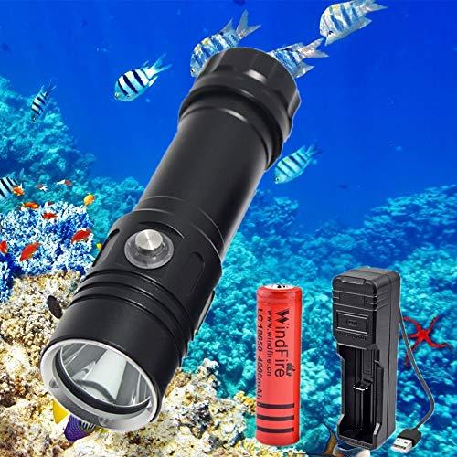 Linterna de Buceo, 5000 Lúmenes Linterna de Buceo LED, Submarina IPX8 Impermeable 4 Modos de Iluminación Luces Subacuáticas para Pesca Nocturna, Buceo, con Batería Recargable y Cargador