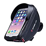 Allnice Bike Bag Bike Frame Bag Waterproof Bicycle Top Tube Bag Cycling Handlebar Pannier Bike Pouch Phone Holder Bicycle Bag Touch Screen with Sun Visor for Phones Below 6', Support Touch ID (Black)