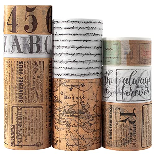 Vintage Washi Tape Set 8 Rolls - Antique Japanese Masking Tapes, Decorative for Scrapbooking Supplies, Bullet Journals, Planners, DIY Crafts, Gift Wrapping - 8 Different Design