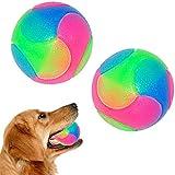 FineInno 2 Pcs Grande LED Juguete de Pelota de Masticar,Bola de Mascota Perros, Bola de Salto para Perros y Gatos, luz LED Intermitente Chew Ball Toy para Golden Retriever, Labrador, Perros Grandes