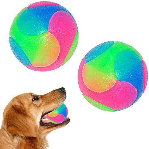 FineInno 2 pcs Groß Blinkender Ball Hundespielzeug Ball Hundeball Leuchtend Glow Ball Hundespielball Ball Spielzeug für Hundes und Reinigen Sie Ihre Zähne für Golden Retriever,Labrador, große Hunde