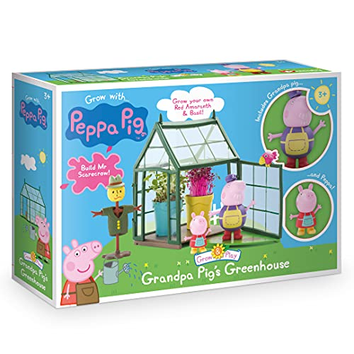 Peppa Pig- Grandpa Pig's Greenhouse Grow & Play Set Juego para Cultivar y Jugar, Multicolor, 27.8 x 7.2 x 18.6 cm (Interplay PP202)