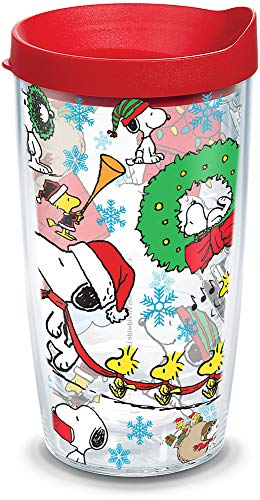 Tervis Peanuts Christmas Collage Insulated Tumbler with Lid, 16 oz, Clear