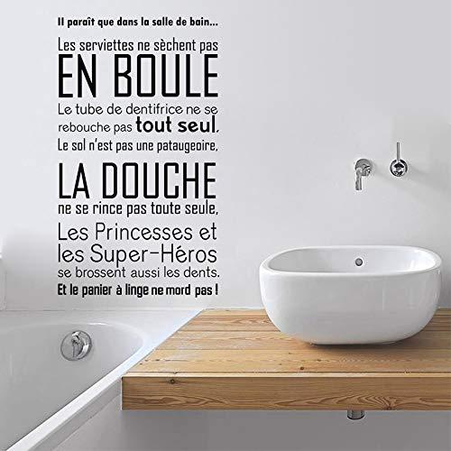 Abkbcw Pegatinas de Pared de baño, decoración de Mural de Regla de baño, calcomanía de Vinilo de Pared Impresa Francesa, decoración de baño 84x144 cm