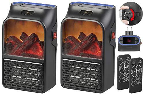 Sichler Haushaltsgeräte Steckdosen-Heizluefter: 2 Steckdosen-Heizlüfter mit Kaminfeuer-Effekt und Fernbedienung, 500 W (Steckdosen Keramik-Heizlüfter)