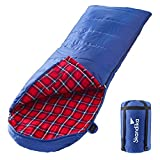 skandika Dundee Decken-Schlafsack, Luxus-Qualität, Baumwolle/Flanell Innenfutter, bis -20°C, 220x80 cm, koppelbar (Blau RV rechts)