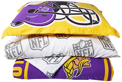 Officially Licensed NFL Minnesota Vikings Soft & Cozy 5-Piece Twin Size Bed in a Bag Set