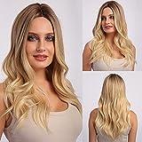 Pelucas rubias largas EMMOR para mujeres y dama, cabello natural sintético con pelucas completas de parte media para uso diario y de fiesta